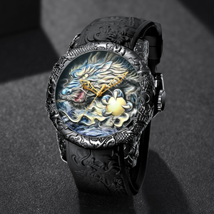 Image 5 - MEGALITH Fashion Dragon Sculpture Watch Men Waterproof Big Dial Quartz Watch Luxury Emboss Men Watch Top Luxury Brand Clock 8041