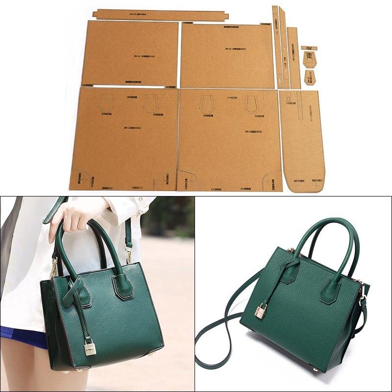 1 Set Hard Kraft Paper Stencil Template For DIY Leather Handmade Craft Ladies Handbag Shoulder Bag Messenger Bag Sewing Pattern