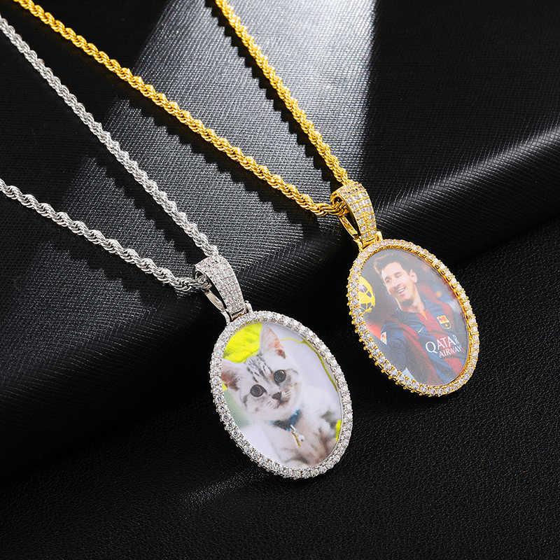 Wykonane na zamówienie zdjęcie Cubic cyrkon okrągły naszyjnik i wisiorek Hip Hop Iced Out Bling naszyjniki dla mężczyzn biżuteria z tenis łańcuch