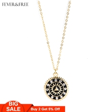 Fever&Free 2019 Hot Sale Jewelry Women Simple Dainty Pendant Necklace Enamel Sun Round Long Chain Crystal Female Bijoux