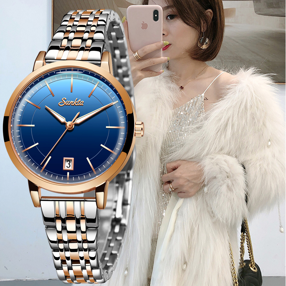 Women Watches SUNKTA Top Brand Luxury Watch Quartz Waterproof Women's Wristwatch Ladies Girls Fashion Clock Relogios Feminino