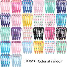 100pcs Printing Colour Hair Clips for Little Girls BB Cute Hair Clips Snap Hair Clips Hair Accessories for Children Kids Thick H(China)