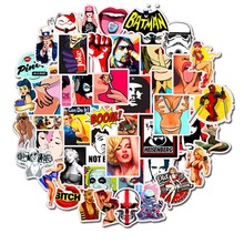 50pcs Cartoon Sexy Beauty Personality Removable Stickers Trolley Case Notebook Skateboard Guitar Doodle Stickers Custom