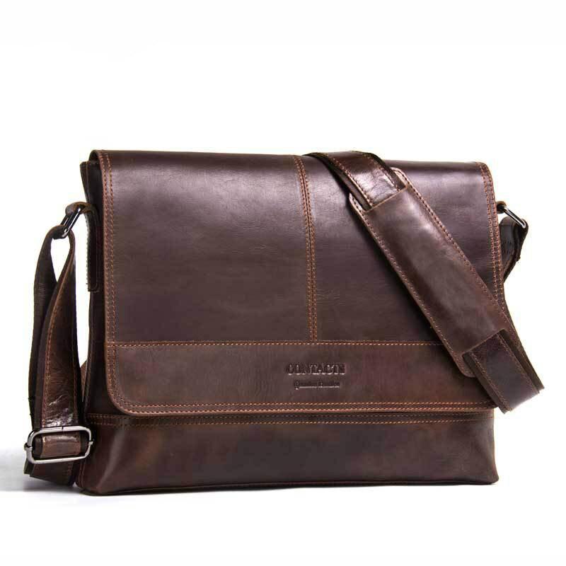Hot Men's Genuine Leather Shoulder Bag Retro Crazy Horse Leather Man Bag Business Casual Cow Leather Men Crossbody Bag Briefcase