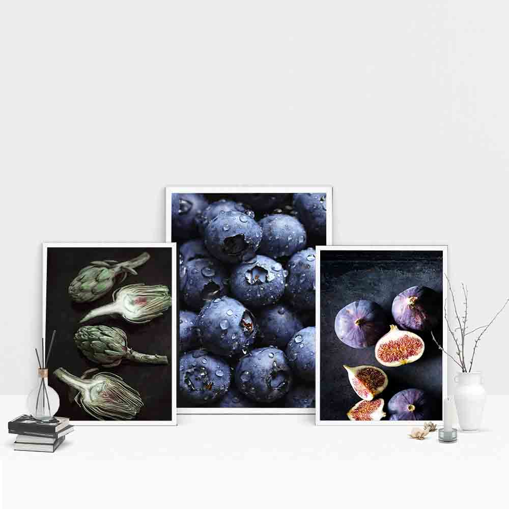 Kitchen Fruit Pictures Blueberry  Fig Paintings On Canvas Wall Art Nordic Diner Decorative Poster Wall Print For Living Room