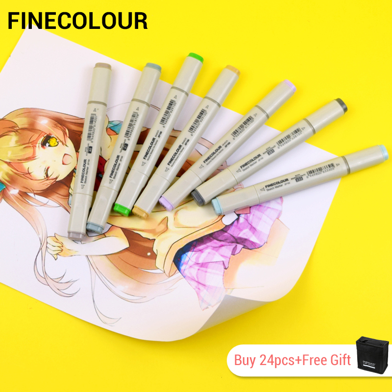 LifeMaster Finecolour Alcohol Ink Art Markers Set Felt Tip For Architecture Manga Sketch Pen Art Supplies for Artist EF100 image
