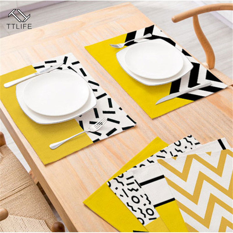TTLIFE Placemat Tableware-Pad Dining-Mat-Accessories Kitchen-Decoration Stripe Yellow