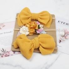 3Pcs/Set Cute Bow Flower Baby Headband For Newborn Elastic Baby Girl Hair Band Turban Haarband Baby Hair Accessories