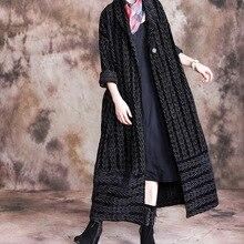 Модное женское длинное пальто, зимняя теплая тонкая женская верхняя одежда, в полоску, sobretudo feminino, Свободное пальто, винтажное большое пальто, Женское пальто