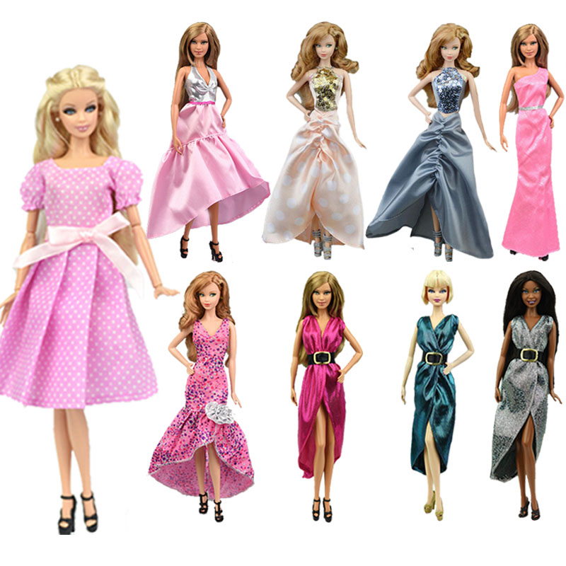 1 Set Barbies Dress Fashion Sleeveless Backless Long Sequin Slim Casual Party Fishtail Dress Clothes For Barbies Ken Doll Gift