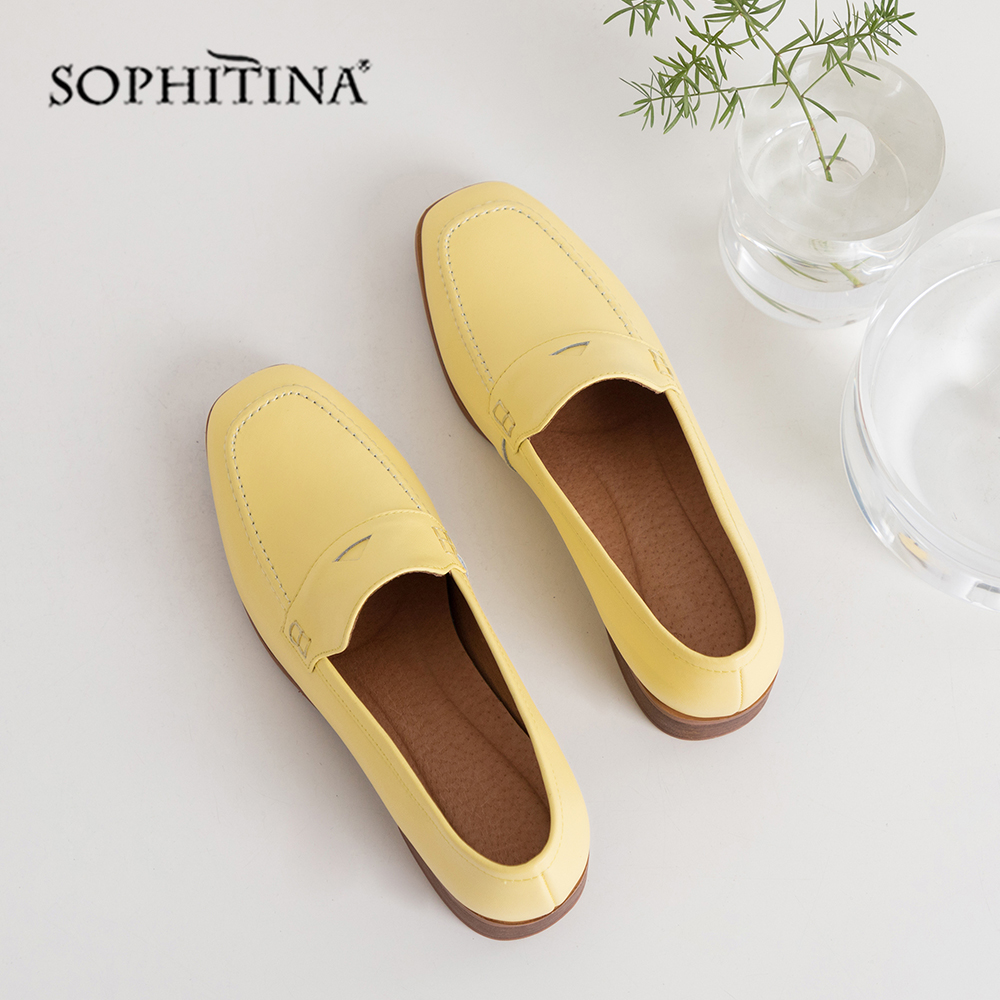 SOPHITINA Casual Women Pumps Solid Shallow Square Toe Square Heel High Quality Cow Leather Comfortable Shoes Concise Pumps PO411