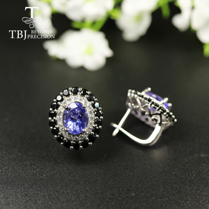 Image 3 - tbj 4ct Nautral Blue Tanzanite Clasp earring 925 sterling silver fine jewelry oval 7*9mm dianna earring for women christmas gift