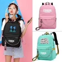 Strange Things Backpack for Women Korean  Simple College Wind Travel Casual Large Capacity School Bag USB Charging Backpacks