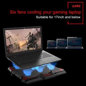 Image 3 - Coolcool 17 بوصة الألعاب مبرد كمبيوتر محمول ستة مروحة شاشة Led اثنين منفذ USB 2600RPM قاعدة تبريد كمبيوتر محمول حامل دفاتر الملاحظات لأجهزة الكمبيوتر المحمول