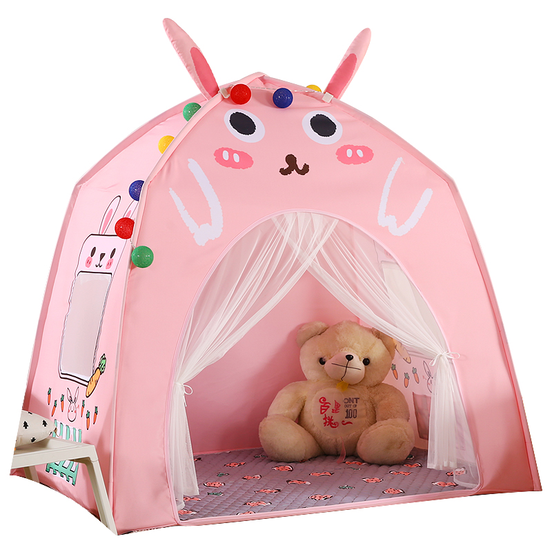 Baby Shining Baby Play House Play Tent Lights Playpen Tipi Play House 130cm with Window Pocket Cotton Mat Boy Girl Birthday Gift - 6
