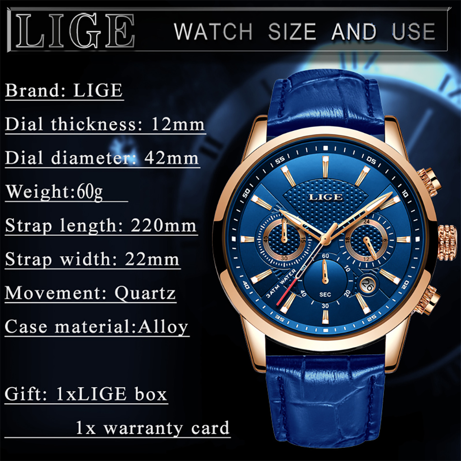 H5eff0f1f54a54b78b040367f03273249Z LIGE New Men Watch Top Brand Blue Leather Chronograph Waterproof Sport Automatic Date Quartz Watches For Mens Relogio Masculino