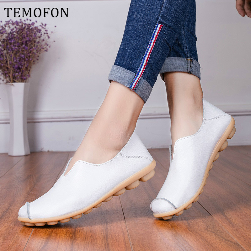 TEMOFON Women Flats Genuine Leather Shoes Slip On Women Loafers Casual Shoes Ladies Moccasins Big Size Chaussures Femme HVT999