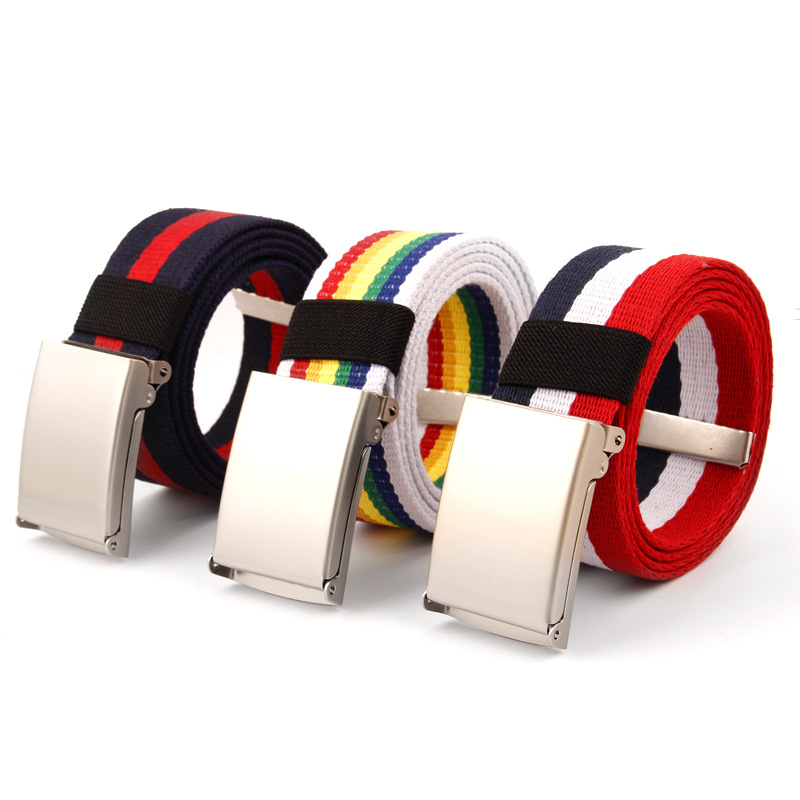 Waistband Canvas Women's Belt Metal Buckle Men Jeans Belts Black Strips Top Quality White Blue Red Russia Flag Canvas Striped