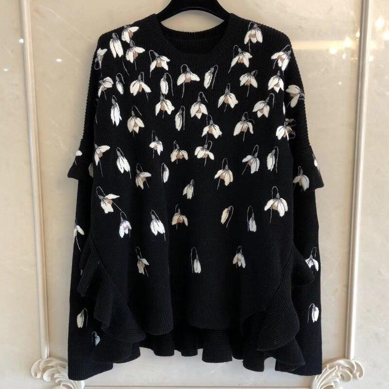 여성을위한 니트 스웨터 여성을위한 2019 가을 o 넥 풀 슬리브 프릴 자수 스웨터 패션 풀오버-에서풀오버부터 여성 의류 의  그룹 1