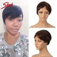 Sleek Human Hair Wigs Pixie Cut Wig 100% Remy Brazilian Short For Black Women 150% Density Fast