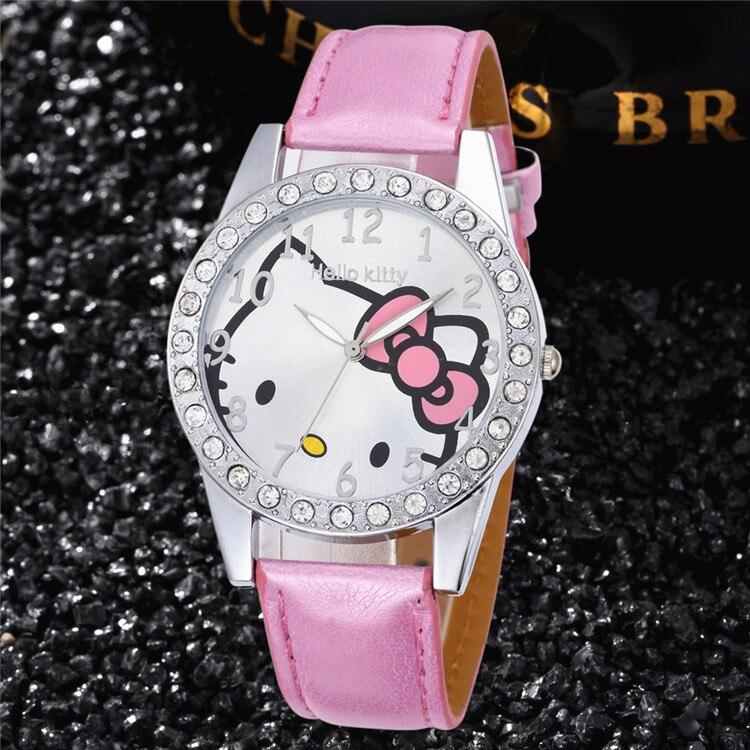 Hello Kitty Kids Watch Children Girls Women Leather Crystal Quartz Watch Kids Wristwatches Clock Relogio
