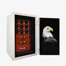 Luksusowe pudełka do zegarków Fire Safe mechaniczne zegarki Winder 9 slotów automatyczny obrót kolekcja biżuterii szafka tanie tanio Melancy CN (pochodzenie) Moda casual 59cm Nowy z metkami LT-FB3421 Rectangle 86cm Drewna 55cm Mieszane materiały
