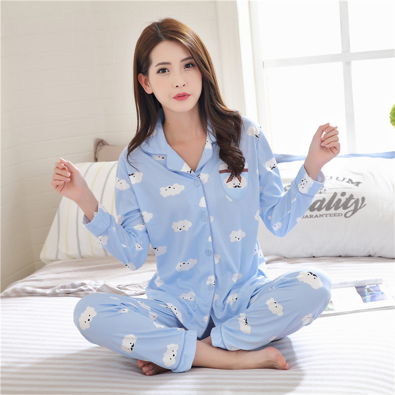 2019 Autumn Women's Pajamas Sets With Print Fashion Luxury Female Two Pieces Shirts + Pants Nighties Sleepwear Soft Homewear
