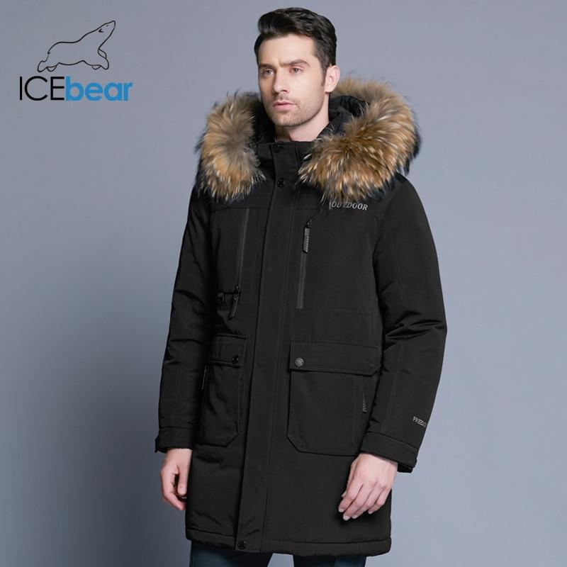ICEbear Новинка 2019 зимний мужской пуховик высокого качества, со вставками, шапка, мужские куртки, Толстая теплая одежда с меховым воротником, MWY18963D
