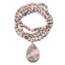 2019 New Trendy Long Necklace Jewelry for Women Men Natural Semi Precious Stones Amazonite Drop Pendant Stone Great Gift 90cm