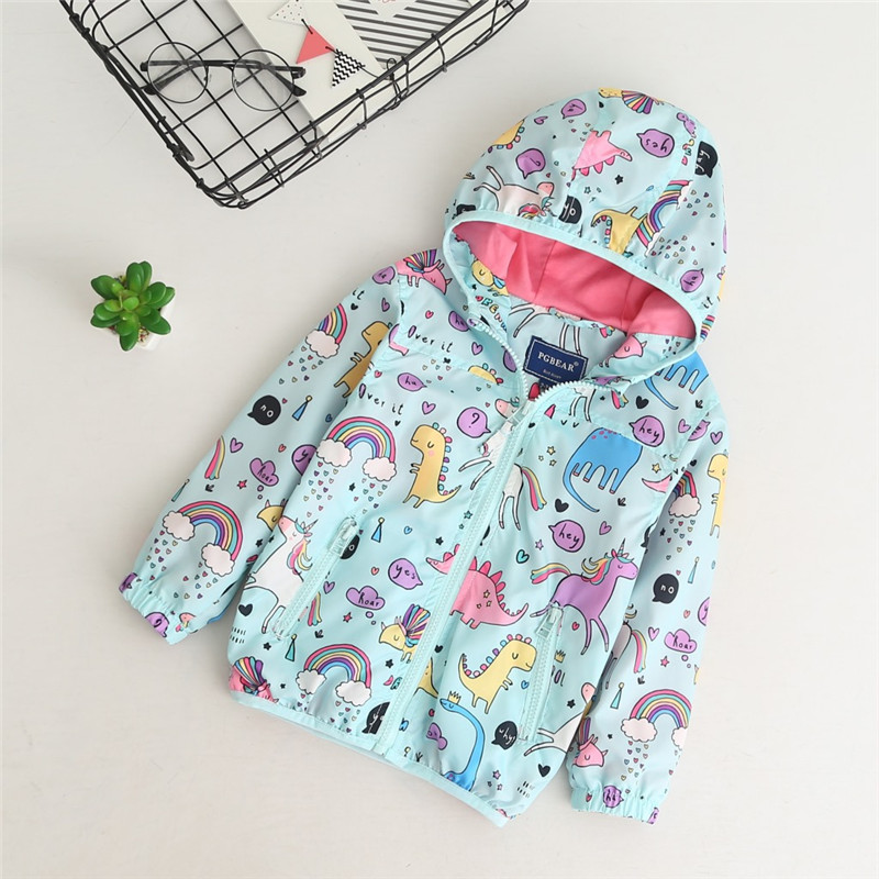 YorkZaler Kids Rain Jacket Baby Girl Boy Clothing Spring Children Long Sleeve Print Unicorn Dinosaur Hooded Coat Outerwear Tops 3