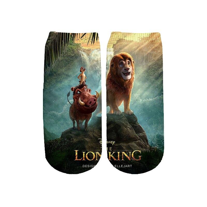 2019 New Movie Lion King   Socks   Harajuku 3d cartoon simba Print Men Women teens Funny   socks   summer spring hip pop ankle   Sock