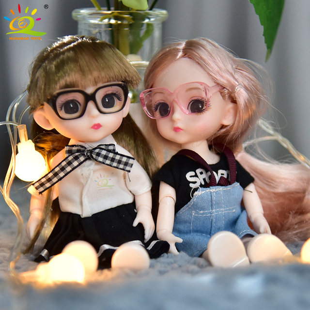 6inch Princess Girl Doll bjd Boneca Dolls normal/joint body Ball Jointed Reborn Glasses Dolls Toys Clothes Shoes Gift For Girls 4