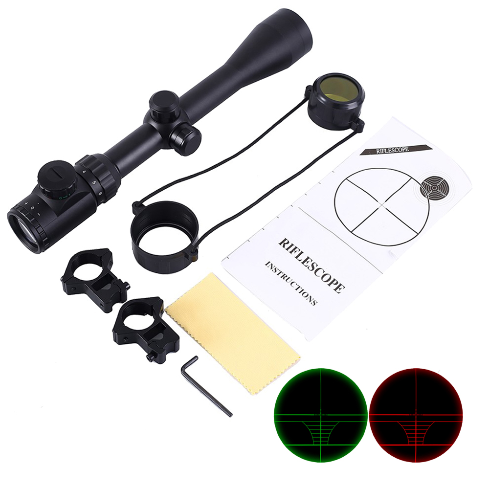 6 24x50 3 9x40 Hunting Optics Adjustable Green Red Dot Hunting Light Tactical Scope Reticle Optical Rifle Scope With 11MM/20MMRiflescopes   -