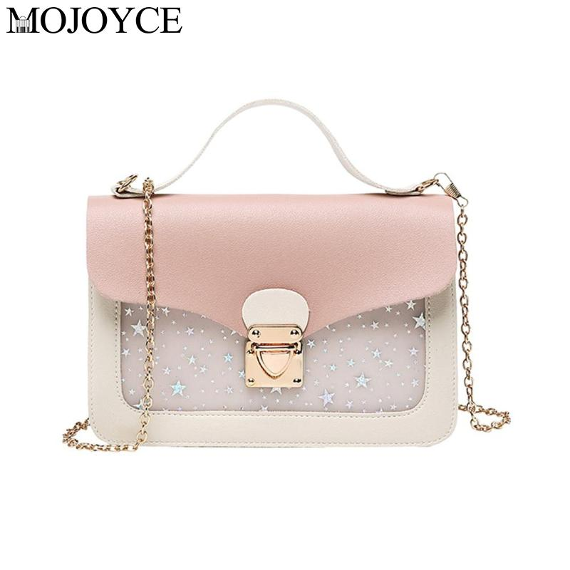 New Stylish Cute Stars Pattern Shoulder Messenger PU Leather Women Small Crossbody Bags Pouch Evening Party Package Handbags