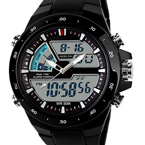 SKMEI 1016 Fashion Multifunctional Waterproof Sports Watch Men Dual Time Zones Backlight Round Dial Digital Watch Мужские часы