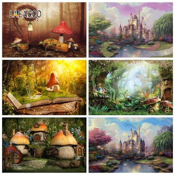 Laeacco Fairy Forest Castle Mushroom House Elves Photography Backdrops Photo Backgrounds Birthday Photophone Newborn Photocall laeacco baby shower photophone starry sky moon clouds photography backgrounds birthday backdrops newborn photocall photo studio