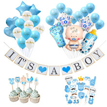 Ballons confettis pour fête prénatale, banderole pour garçon et fille, décorations de fête d'anniversaire, fournitures de décoration pour cadeau pour enfants