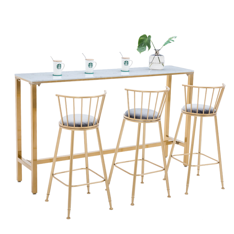 H1 Nordic Bar Table and Chair Combination Wrought Iron Bar Table Gold High Bar Table Conference Table Dining Bar Metal Stool|  - title=