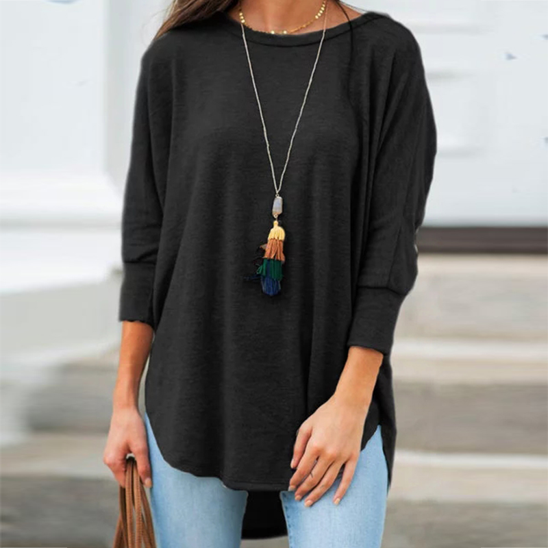 Solid Black Shirt Woman Casual Cotton O Neck Women's Tops And Blouses  Three Quarter Sleeve Irregular Women Blouses Tunic Autumn