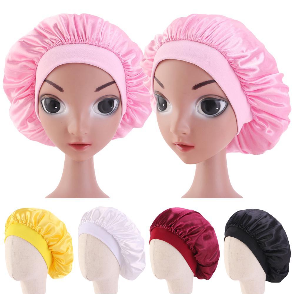 Elastic Satin Night Sleep Hat Kids Girls Hair Care Bonnet Cover Wide Band Caps Beanies Skullies Plain Hair Loss Hat Fashion Cap