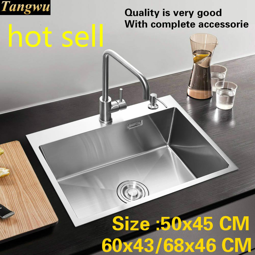 Free Shipping Standard Kitchen Manual Sink Single Trough 304  Stainless Steel Hot Sell 500x450/600x430/680x460 Mm