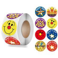 500pcs/roll Smiley Face Sticker for Kids Cute Star Pattern Encourage Words School Teacher Supplier 1 inch Child Reward Stickers