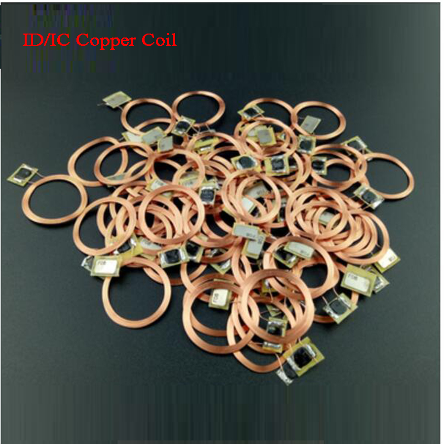 100pcs RFID Coin Tag Sticker Copper <font><b>Coil</b></font> Transparent Tag NTAG tag IC FM1108 TK4100 14443A <font><b>ID</b></font> 125KHz 13.56MHz Parking/Transport image