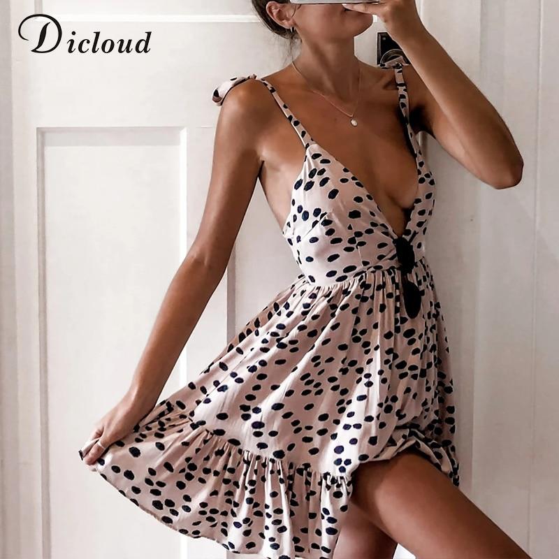 DICLOUD Sexy Leopard Print Summer Beach Dress Women V Neck Polka Dot Pink White Mini Party Sundress Elegant Clothing Female 2020(China)