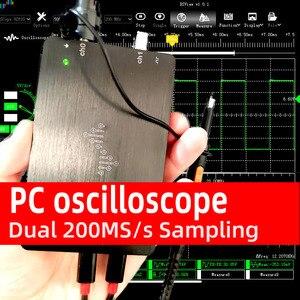 DSCope U2P20 PC oscilloscope usb digital Dual 200MS/s Sampling Rate dual 50mhz analog Bandwidth with FFT GUI Interface(China)
