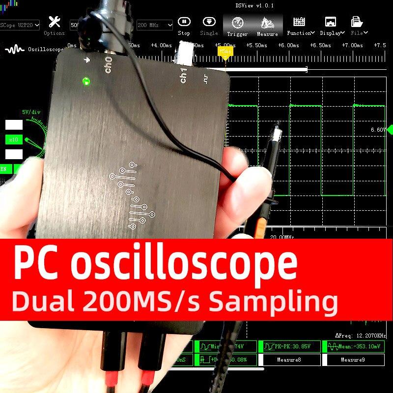 Oscilloscope DSCope C20P usb numérique double 200 MS/s taux d'échantillonnage double bande passante analogique 50mhz avec Interface graphique FFT