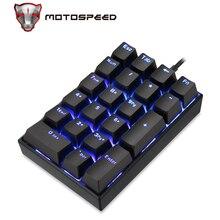 MOTOSPEED K23 기계식 숫자 키패드 유선 21 키 미니 Numpad LED 백라이트 키보드 노트북 캐셔 레드 스위치 용 수치
