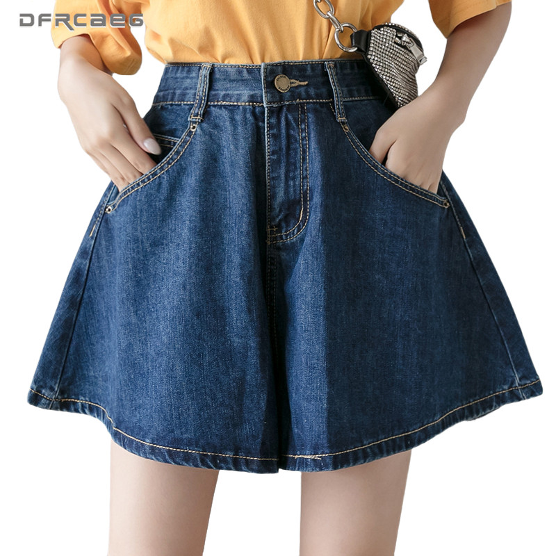 Deep Blue Streetwear Vintage Wide Leg Jeans Shorts Womens 2020 Casual High Waist Loose Summer Denim Short Trouser Female