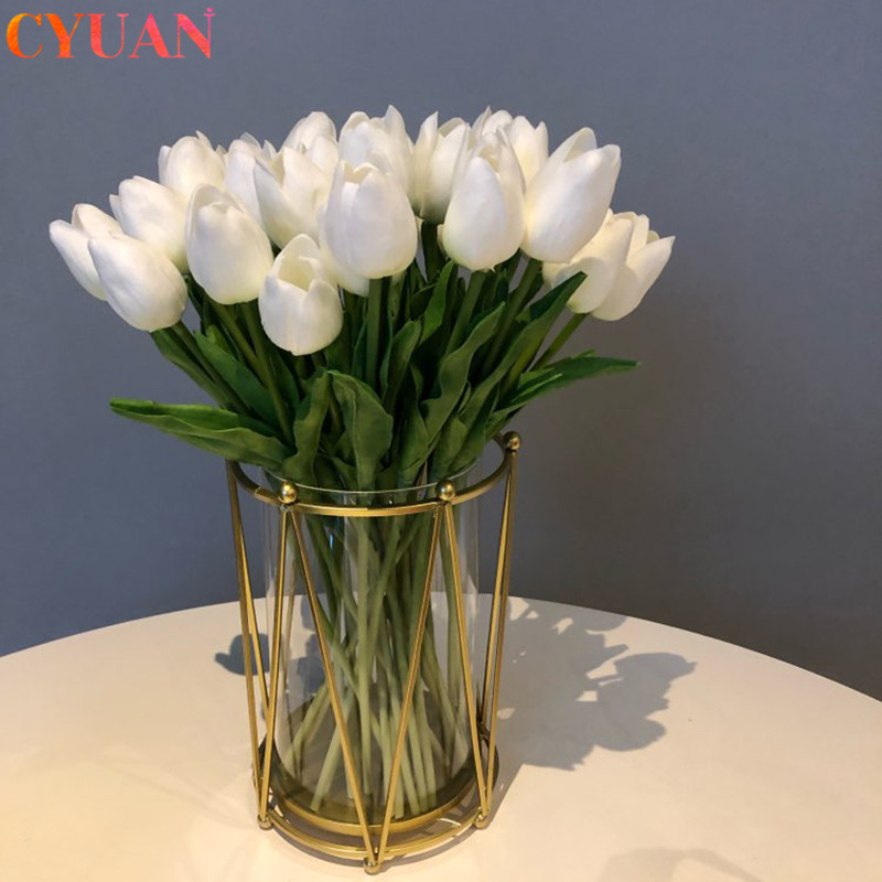 10pcs Artificial Tulips Flowers Home Garden Decoration Real Touch Flower Bouquet Birthday Party Wedding Decoration Fake Flower