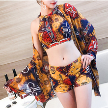 2019 new swimsuit women's small chest gathered skirt style slim cover belly sexy Siamese split swimsuit staer 2017 body conservative students three sets of small chest gathered sexy skirt type thin thin belly bikini swimsuit